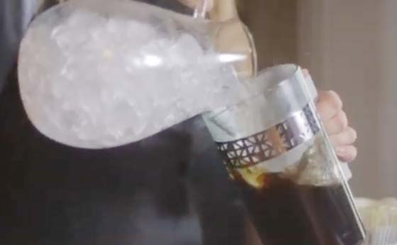 Ice Cubes Into Coffee